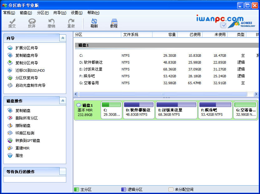 分区助手 6.2官方绿色中文专业版—无损数据 专业免费的磁盘分区管理软件-磁盘分区管理, 硬盘分区魔术师, 硬盘, 分区助手, 分区, Partition Magic