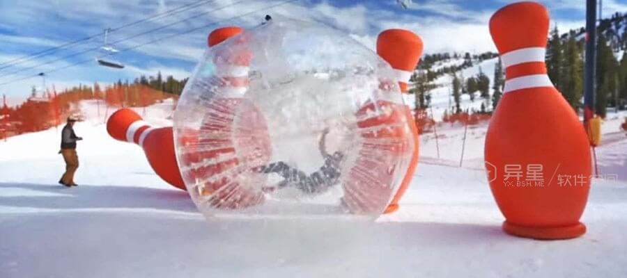 人体保龄球来了!- 滑雪场新玩法-雪, 滑雪场, 保龄球, 人体