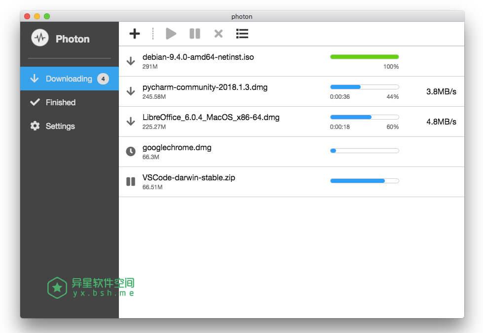 Photon v0.3.0 Win+Mac官方原版下载 —— 免配置 Aria2 免费开源下载软件利器-速度, 辅助, 装机, 网速, 网络, 效率, 开源, 命令行, 加速, 下载, P2P, NAS, FTP, BT, Aria2