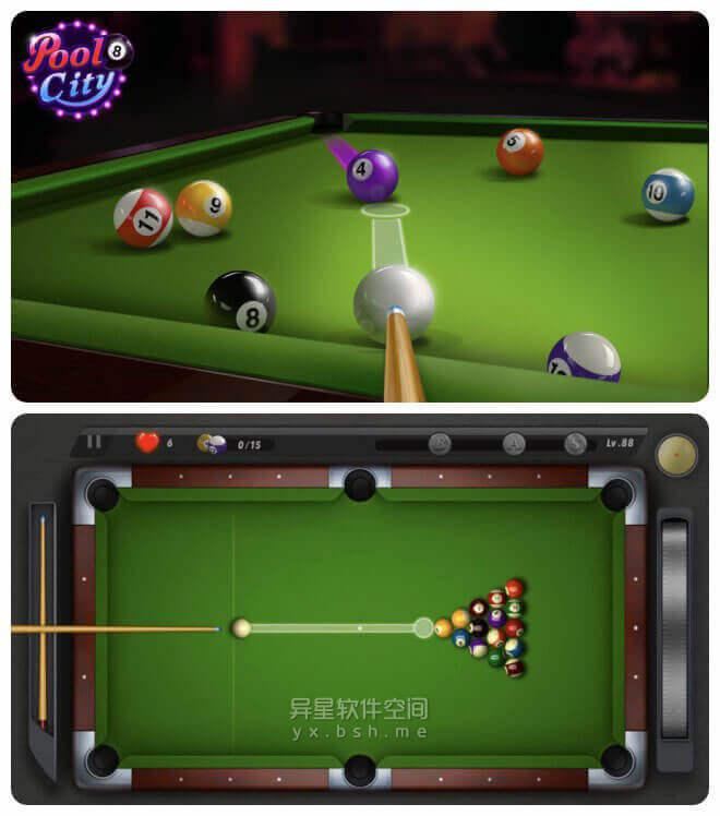 Pooking Billiards City「台球城」v2.10 for Android 直装去广告版 —— 一款现代化街机风格的单人台球游戏-球杆, 台球城, 台球, 单人, Pooking, Billiards, 8球, 3D球