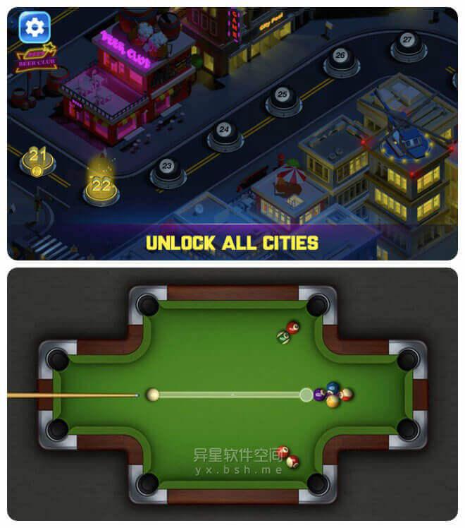 Pooking Billiards City「台球城」v2.8 for Android 直装去广告版 —— 一款现代化街机风格的单人台球游戏-球杆, 台球城, 台球, 单人, Pooking, Billiards, 8球, 3D球